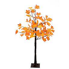 Fraser Hill Farm Pre-Lit 4' Maple Tree Multi-Hue Orange Leaves w/ Base