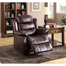 Furniture of America Naya Leather-Like Recliner - Rustic Dk Brown