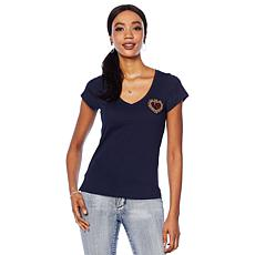 G by Giuliana Embellished V-Neck Tee