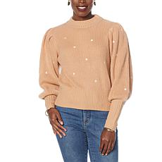 G by Giuliana Embroidered Puff-Sleeve Mock Neck Sweater