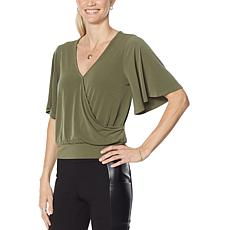 G by Giuliana Flutter Sleeve Surplice Top