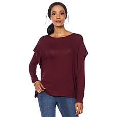 G by Giuliana Hacci Knit Ruffle-Sleeve Top