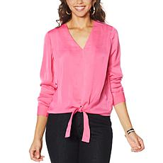 G by Giuliana Hammered Satin Tie-Front Blouse