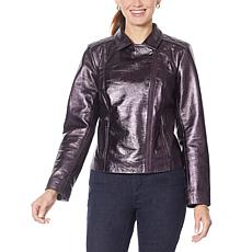 G by Giuliana Lambskin Leather Quilted-Shoulder Moto Jacket