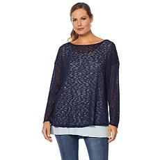 G by Giuliana Layered Textured Knit Top with Tank