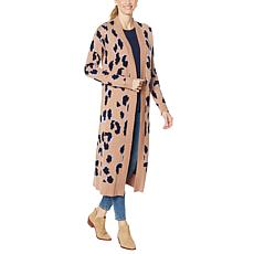 G by Giuliana Leopard Long Cardigan