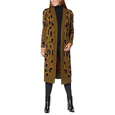 G by Giuliana Leopard Long Cardigan
