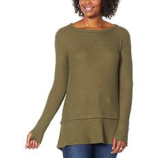 G by Giuliana Long-Sleeve Brushed Waffle-Knit Top