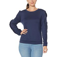 G by Giuliana LounGy Ruffle-Sleeve Knit Sweatshirt