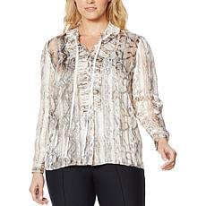 G by Giuliana Printed Shadow Stripe Ruffle Blouse