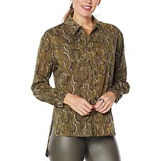 G by Giuliana Snake-Print Button-Front Shirt