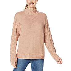 G by Giuliana Textured-Sleeve Turtleneck Sweater