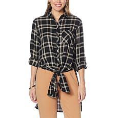 G by Giuliana Tie-Front Flannel Tunic
