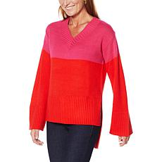 G by Giuliana V-Neck Colorblock Sweater