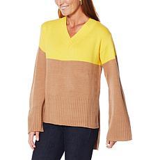 G by Giuliana V-Neck Colorblock Sweater