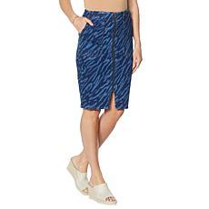 G by Giuliana Zip-Front Printed Denim Skirt