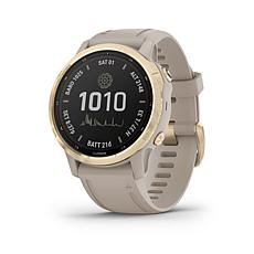 Garmin fenix 6S Pro Solar Multisport GPS Watch - Light Gold/Light Sand