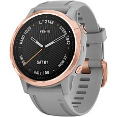 Garmin Fenix 6S Sapphire GPS Watch in Rose Gold Tone with Gray Band