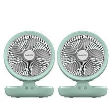 Geek Aire 2pk Rechargeable Oscillating Folding Table Fan w/Night Light