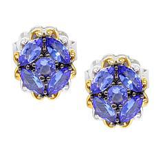 Gems by Michael 18K Goldtone Tanzanite Cluster Stud Earrings