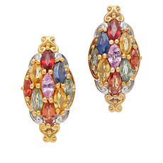 Gems by Michael Multi-Color Sapphire and Ruby Cluster Earrings