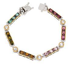 Gems by Michael Multicolor Tourmaline and White Zircon Bracelet