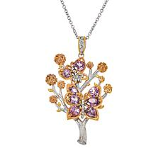 Gems by Michael Pink Spinel Floral Butterfly Pendant