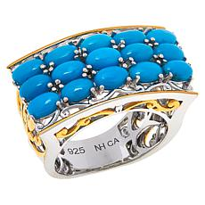 Gems by Michael Sleeping Beauty Turquoise Three-Row Scrollwork Ring