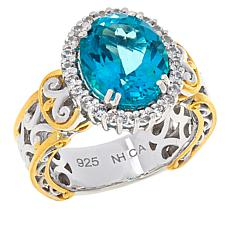 Gems by Michael Sterling Silver Paraiba-Color Topaz and Zircon Ring