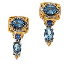 Gems by Michael Valitutti Aquamarine and Sapphire Drop Earrings