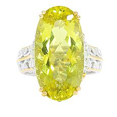 Gems by Michael Valitutti Ouro Verde Quartz and White Zircon Oval Ring