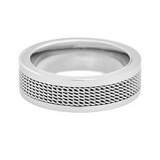 Geoffrey Beene Men's Stainless Steel Mesh Band Ring