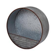 "Gerson 15.7"" Hanging Round Galvanized Metal Wall Planter"
