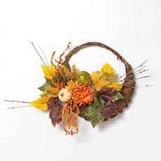 "Gerson 20"" Diameter Cornucopia Wreath with Pumpkins & Berries"
