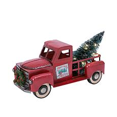 "Gerson 21""L Battery-Operated Metal Truck with Lighted Christmas Tree"