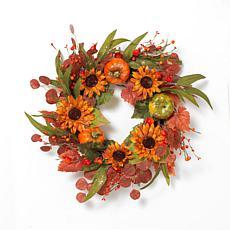 "Gerson 24"" Diameter Harvest Wreath with Pumpkin & Berry Accents"