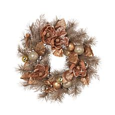 """Gerson 24"""" Frosted PVC Wreath with Ornaments and Berries"""