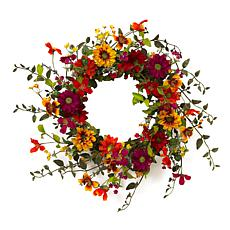 "Gerson 24""Dia. Assorted Wild Flower Twig Wreath"