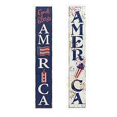 "Gerson 47"" Antiqued Wooden Patriotic Wall Hangings - Set of 2"