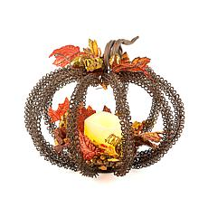"Gerson 8"" Metal Wire Pumpkin Candle Holder"