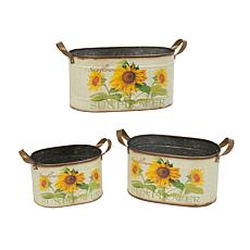 Gerson Assorted Metal Nesting Sunflower Decorative Buckets 3-pack