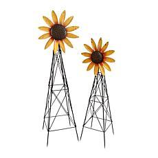 Gerson Assorted Metal Spinner Sunflower Windmills 2-pack