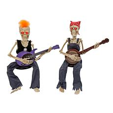 """Gerson Company 37""""H Battery-Operated Animated w/ Sound Skeletons 2-pk"""