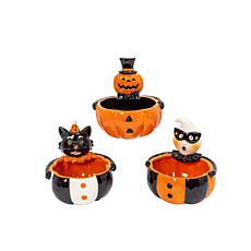 """Gerson Company 6.6"""" Dolomite Halloween Candy Bowls 3-pack"""