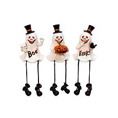 """Gerson Company Battery Lighted 7.8""""H Resin Halloween Ghost Sitters 3pk"""