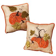 "Gerson Company Set of 2 Harvest Pillows - 14"" Square"