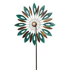 Gerson Metal Leaf-Motif Wind Spinner Yard Stake