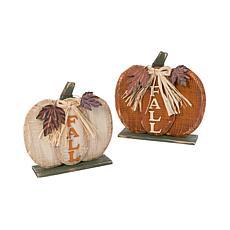 Gerson Set of 2 Assorted Wooden Tabletop Fall Pumpkin Decorations