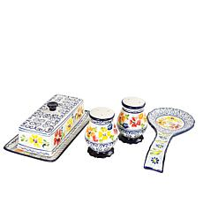 Gibson Central Station 4 pc Ceramic Accessory Set Hand Painted Ston...
