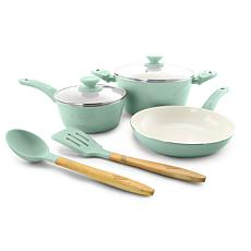 Gibson Coffee House Plaza Cafe 7-piece Cookware Set in Sky Blue